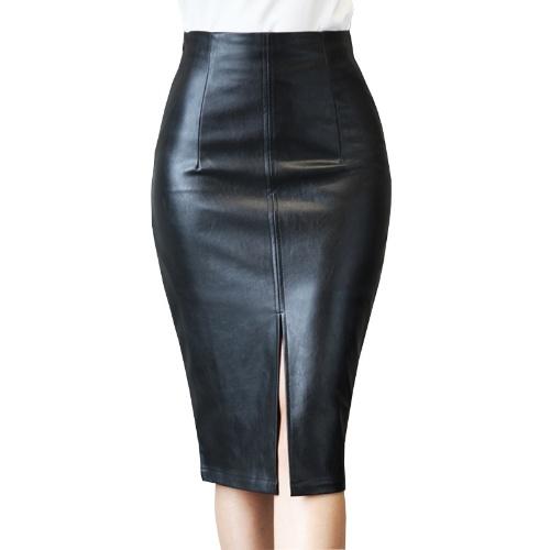 Leather skirt 2021 spring new leather skirt women's hip one-step skirt fashion slim middle skirt split leather skirt half-length skirt black S