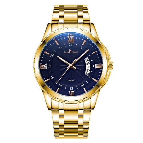 Keep In Touch cross-border explosions hot business high-end waterproof watch non-mechanical men's steel belt watch Black shell black surface gold nail steel strip