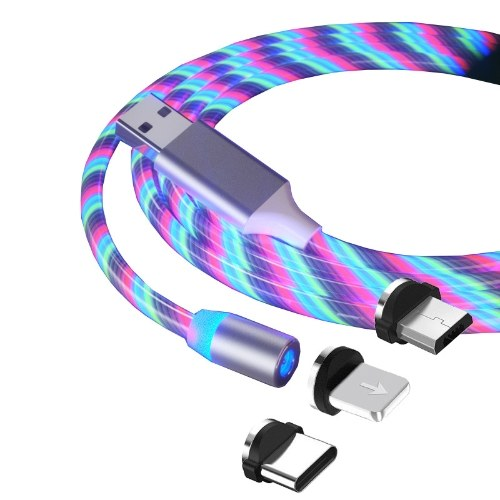 Creative colorful streamer data cable magnetic three-in-one for Apple Android type-c one with three charging cable blue Android (one line and one end)