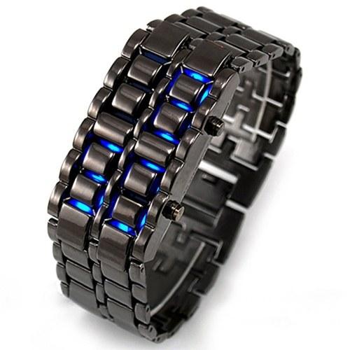 Manufacturers Spot Lava Steel Belt LED Watch-Silver - Blue LED Lamp