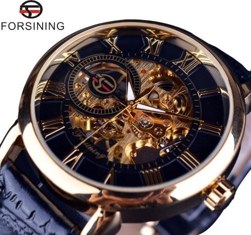 Forsining AliExpress Hot Selling Men's Fashion Waterproof Hollow Through Bottom Mechanical Manual Mechanical Watch 男款Brown belt gold shell white face men