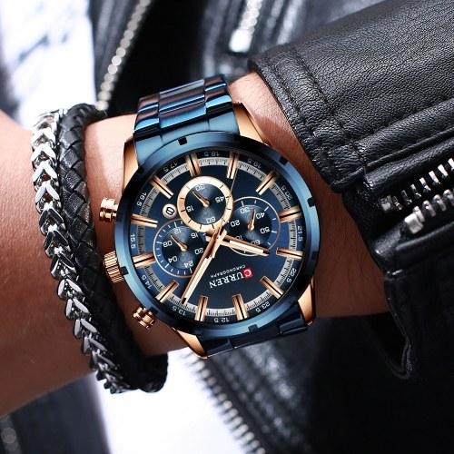Curren / Carrian Nuovo orologio da uomo 8355 Quarzo impermeabile Orologio da uomo con cinturino in acciaio con calendario a sei pin blu