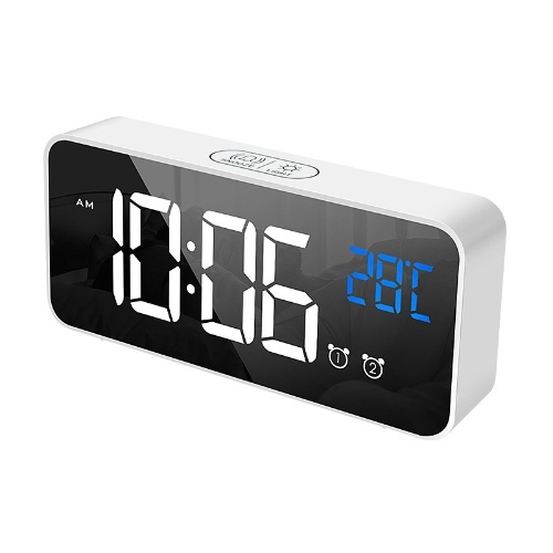 Factory Outlet Creative Multifunction Electronic Clock Exquisite Clock Mute LED Mirror Clock Bedside Alarm Clock 8808 Silver (English version)