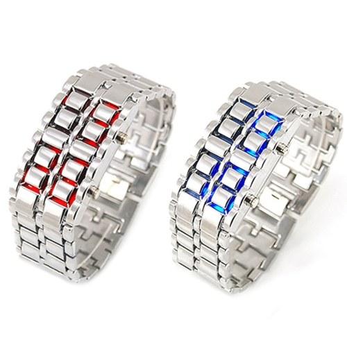 Hersteller Spot Lava Stahlgürtel LED Uhr-Silber - Rote LED Lampe