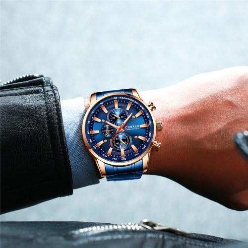 CURREN / Karen 8351 Часы на стальном ремешке Простой календарь с большим циферблатом Деловые часы Водонепроницаемые мужские модные синие с розовой оболочкой синяя поверхность