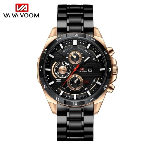 Men's waterproof stainless steel chain steel band watch multifunctional business sports and...