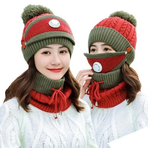 зимняя шапка из трех частей плюс утолщенная бархатная защита от холода Велоспорт ветрозащитный дыхательный клапан вязаная шапка женская шапка красная