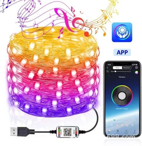 USB Bluetooth световая струна приложение для мобильного телефона медный провод свет рождественское украшение световая струна