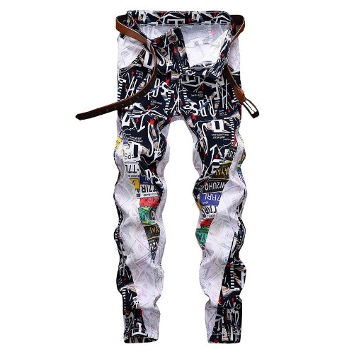 new men's stretch slim straight white print personality jeans