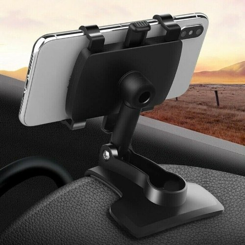 Girevole a 360 ° telefono cellulare navigatore cruscotto specchietto retrovisore visiera parasole porta cellulare per auto 002 nero