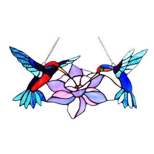 Hummingbird Flower Stained Glass Window Hanging Art Hanging Chain