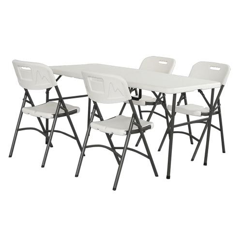 Outdoor Tragbar Tish 152cm Garten Tisch Weiß Klappbar Faltbar Tablett für Camping Picknick Reisen BBQ Strand