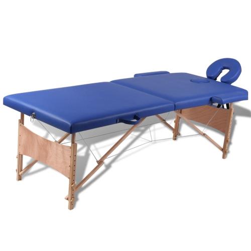 mesa de masaje con marco de madera, plegables 2 zonas azules