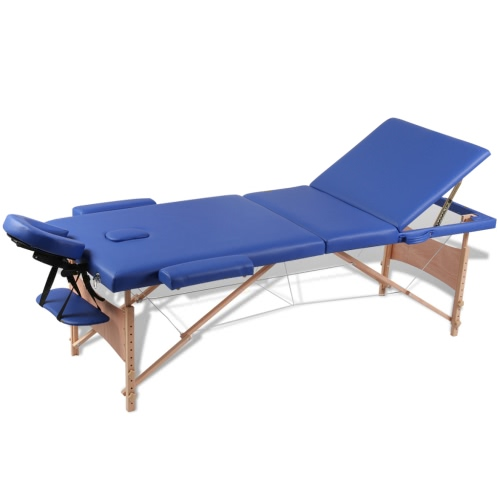 Folding Cot Massage Blue Zone 3 with Wooden Frame