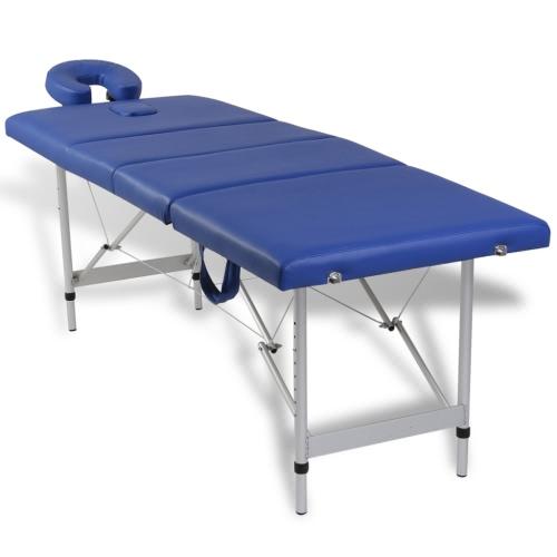 Tabella di massaggio con telaio in alluminio, pieghevoli 4 zone blu