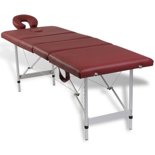 Mesa de masajes con marco de aluminio, plegables 4 zonas rojas