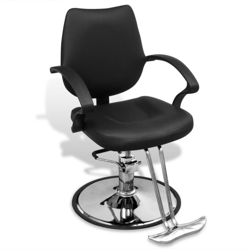 Sedia da barbiere professionale in pelle artificiale nera