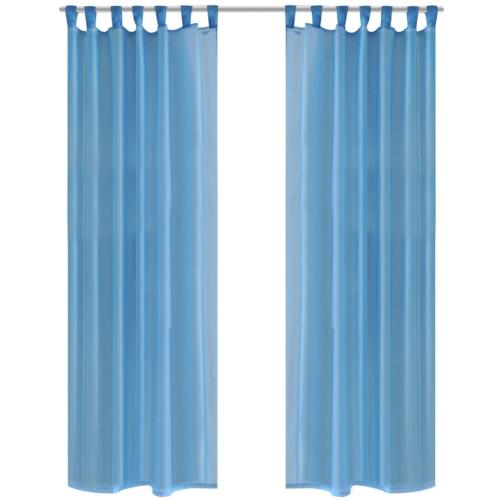 2 x rideau transparent Fertiggardine 140 x 245 cm turquoise
