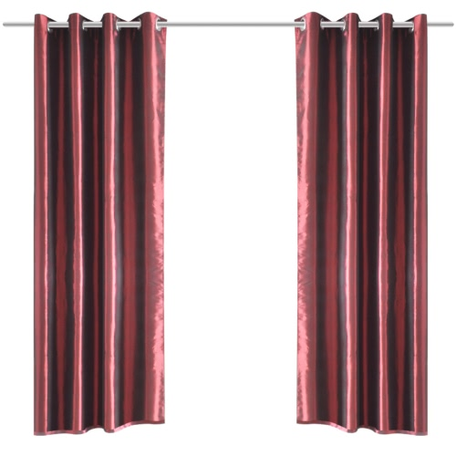 Bordeaux Taffeta Curtain with Metal Rings 140 x 245 cm 2 pcs