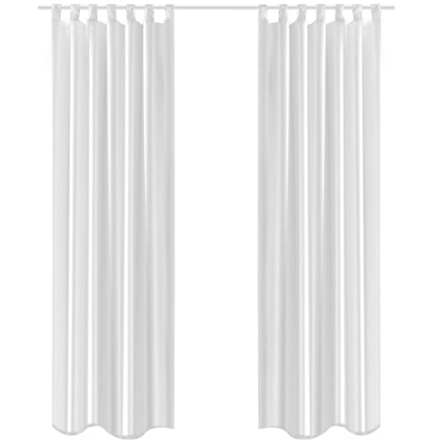 White Taffeta Curtain 140 x 245 cm 2 pcs
