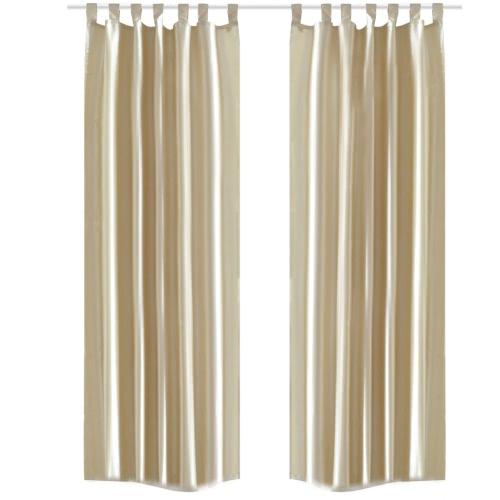 2 x taffetas rideau de taffetas rideau couleur sable 140 x 245 cm