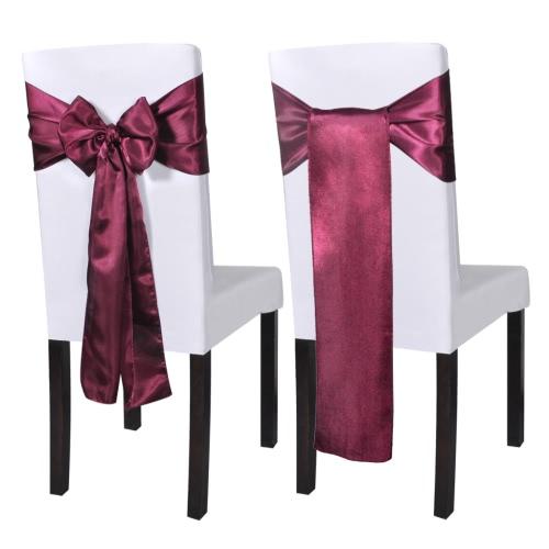 25 pcs Bordeaux Satin Decorative Chair Sash