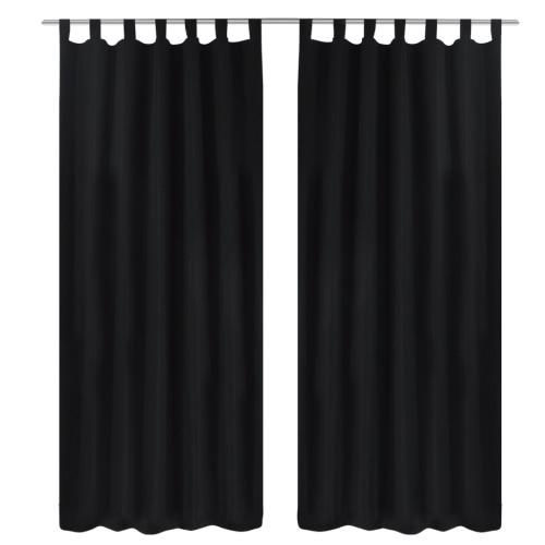 Cortinas cortinas de raso de 2 piezas 140 x 225 cm Negro