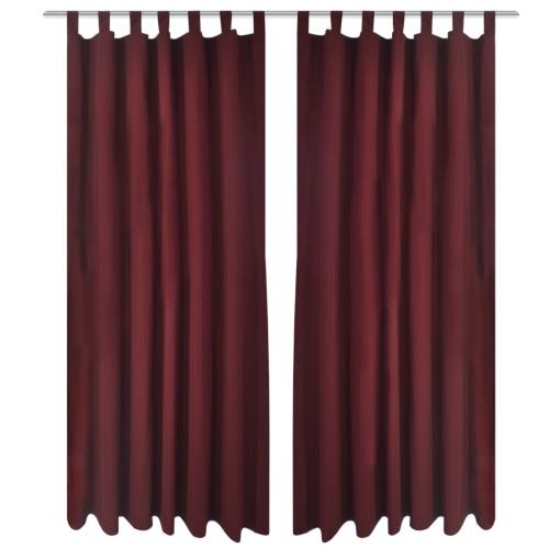 Rideaux Rideaux Satin 2 pièces 140 x 225 cm rouge foncé