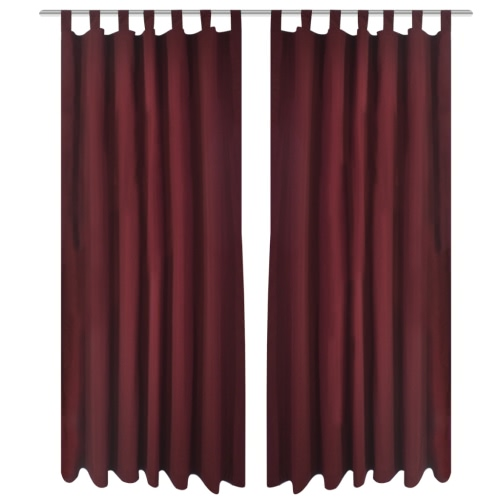 2 pcs Bordeaux Micro-Satin Curtains with Loops 140 x 245 cm