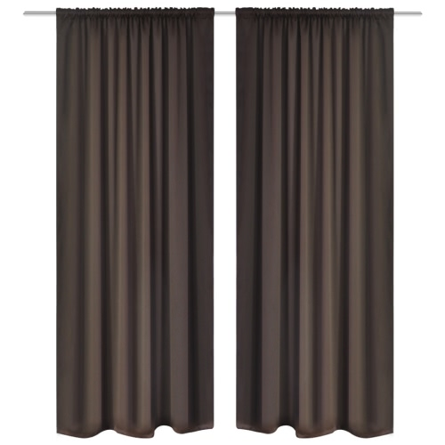 Verdunkelungs-Vorhänge mit Schlaufen 135 x 245 cm Braun blackout
