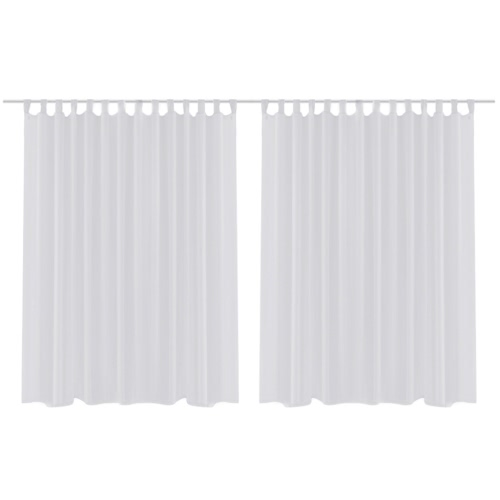 2 pcs Sheer Curtain 290 x 245 cm White