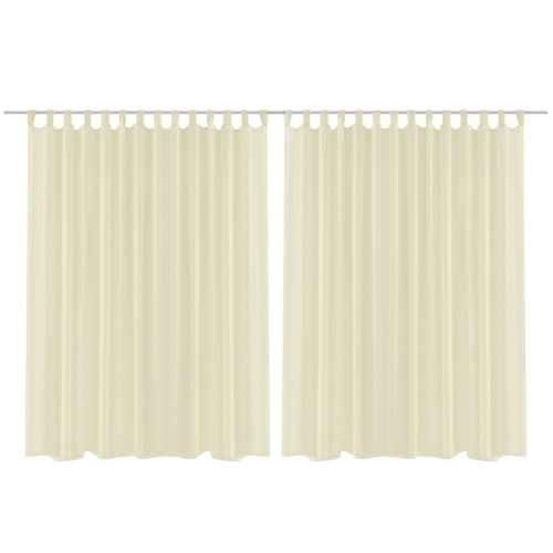 2 pcs Sheer Curtain 290 x 175 cm Cream