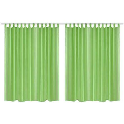 2 pcs Sheer Curtain 290 x 175 cm Green