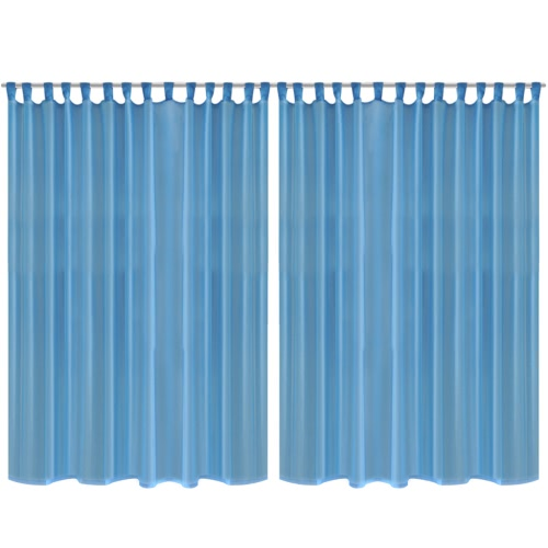 2 pcs Sheer Curtain 290 x 225 cm Turquoise