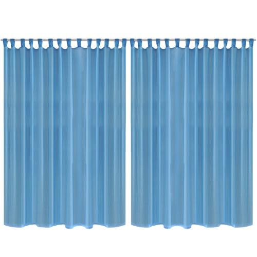 2 pcs Sheer Curtain 290 x 245 cm Turquoise