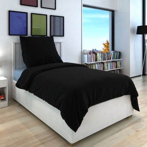 3 pz. Bedding Set Cotone 240x220 nero / 60x70 cm