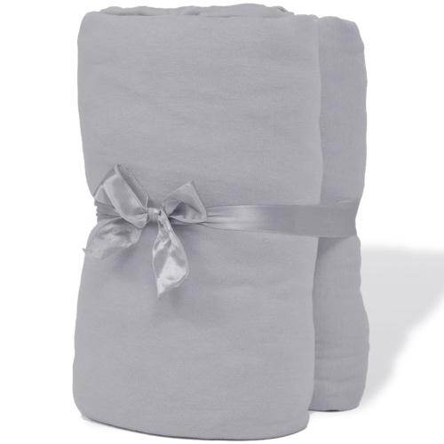 2x lenzuola con angoli in jersey di cotone 150 g 90x190-100x200cm Grigio