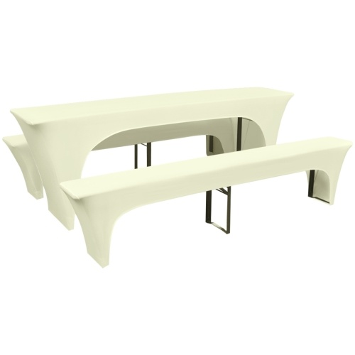 three-part slipcover set for beer table / benches stretch cream