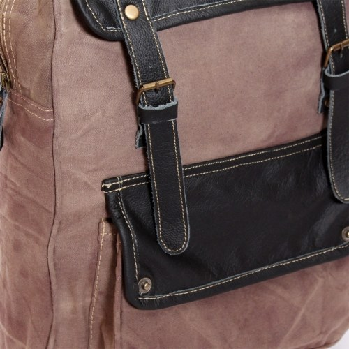 Backpack canvas and genuine leather brown