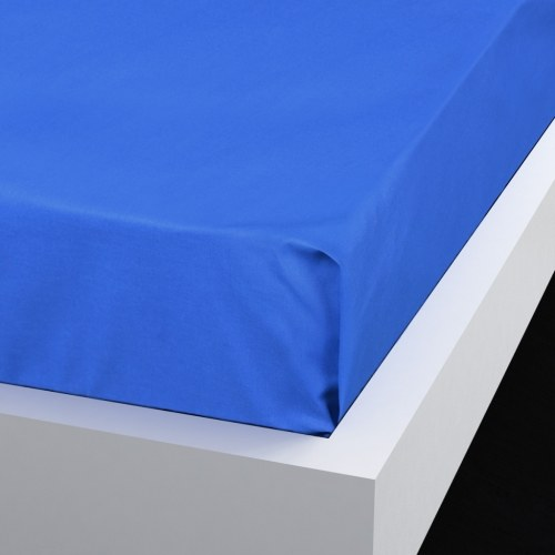 Flat bed sheet 2 pieces cotton 146x260 cm royal blue