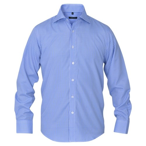 Men's business shirt white and light blue plaid Gr. L