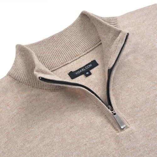 Мужской свитер с молнией Бежевый L