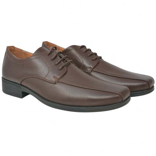 Business Shoes Men's Lace-Up Shoes Brown Size 45 PU Leather