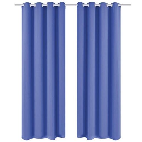 Cortinas opacas 2 piezas con ojales de metal 135 x 175 cm azul