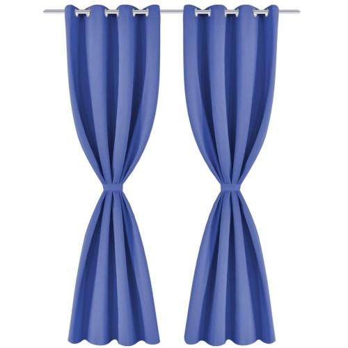 Занавески для штор 2 шт. С металлическими проушинами 135 х 245 см синий