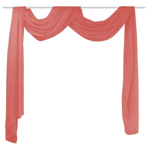 ヴォイル140 x 600 cm赤のクロスカーテン