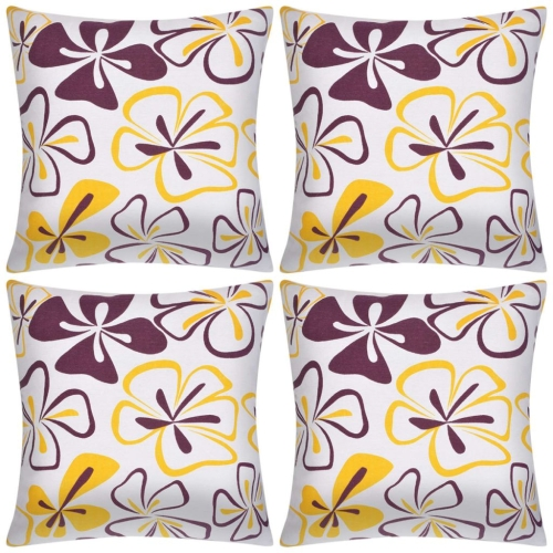 Pillow Covers 4 pcs Canvas Flower Printed 40x40 cm