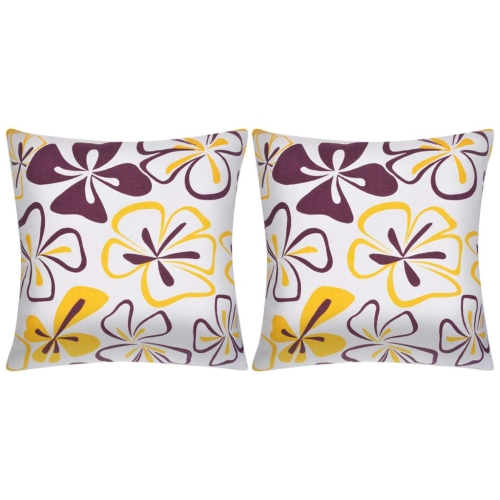 Pillow Covers 2 pcs Canvas Flower Printed 80x80 cm