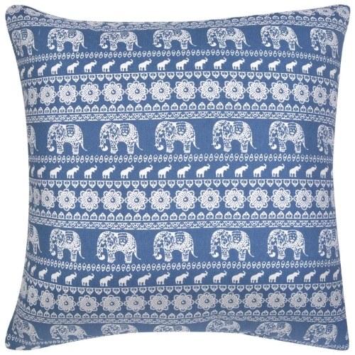 Image of Sofakissen 2 Stk. Segeltuch Elefantenaufdruck Blau 45 x 45 cm