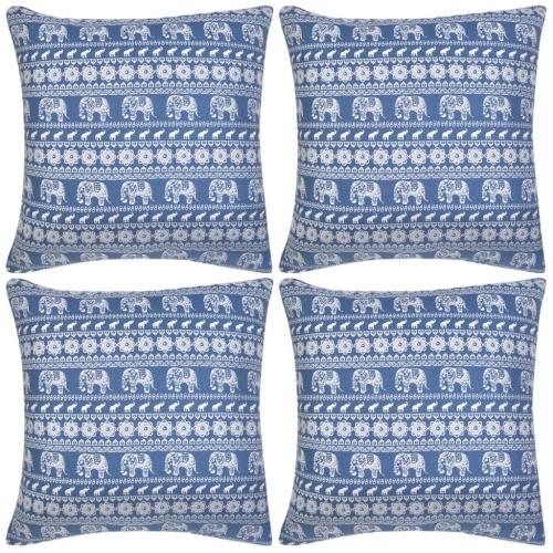 Couvre-oreiller 4 pcs Toile Elephant Imprimé Bleu 50x50 cm